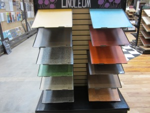 Different colors of marmoleum.