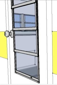 6-pane window on the door