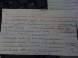electrical system notecard