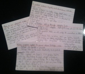 The notecards I used during my presentation