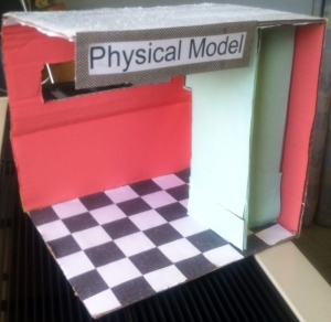 The physical model of the back end of the trailer, showcasing our color schemes