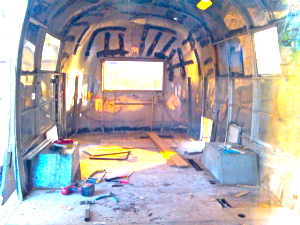 Inside the gutted out trailer
