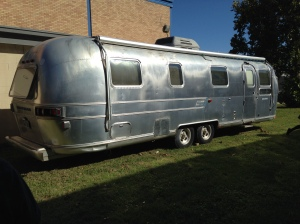 The Airstream is stunning! The silver aluminum exterior already sets it apart from the rest of the school.