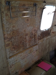 This is currently what the inside of the Airstream looks like. It was gutted so it's not at its best.