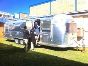 Admiring the beauty of the Airstream. . . .