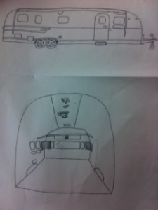 My completed Airstream drawings (exterior and interior)