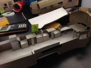 This is what our floor plane looked like for our final scaled model. It is consisted of booths and seating areas.