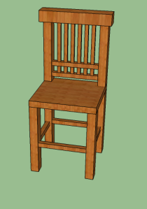 This isn't an exact chair that we are building but it is an example of how to build a chair in sketch up.