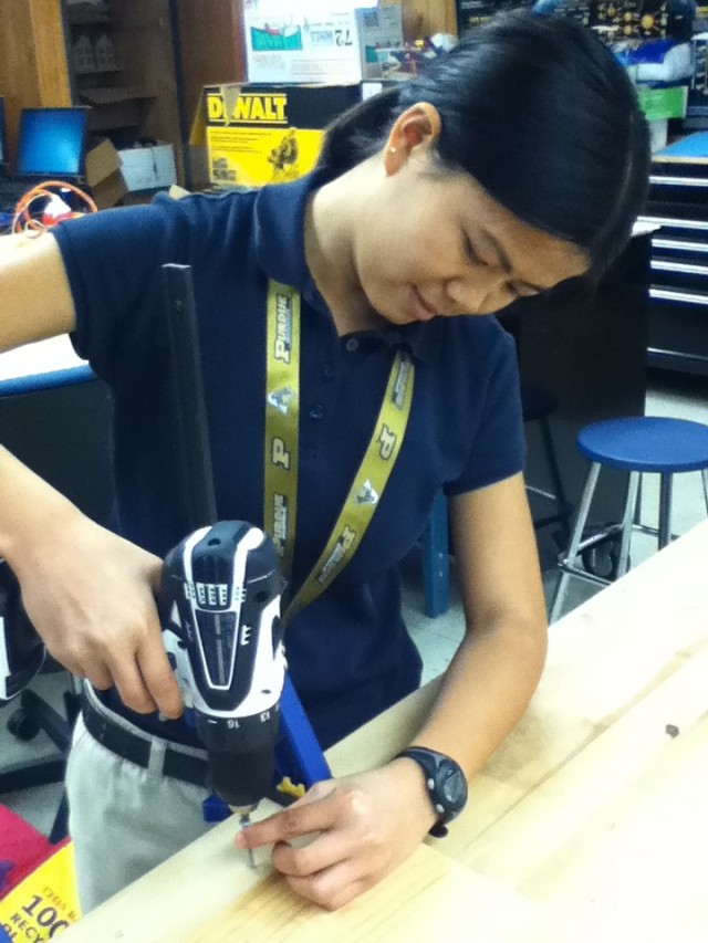 I'm being all cool, using a drill! Whoa!