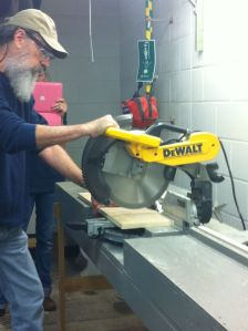 Brad showing us how to use a table saw
