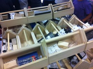 The whole class's finished toolboxes!