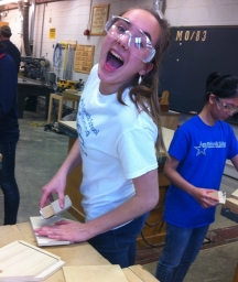 Here's Meredith using a sleek and stylish sander