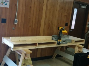 The completed saw table after a long work day.