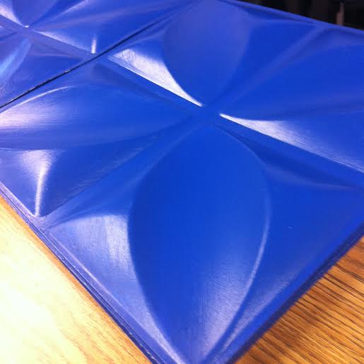 Freshly painted blue tiles for the ceiling of the Whale!