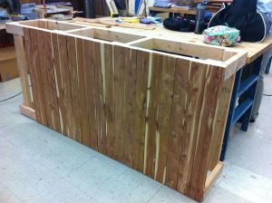 Reclaimed cedar panels make our counter even MORE beautiful!