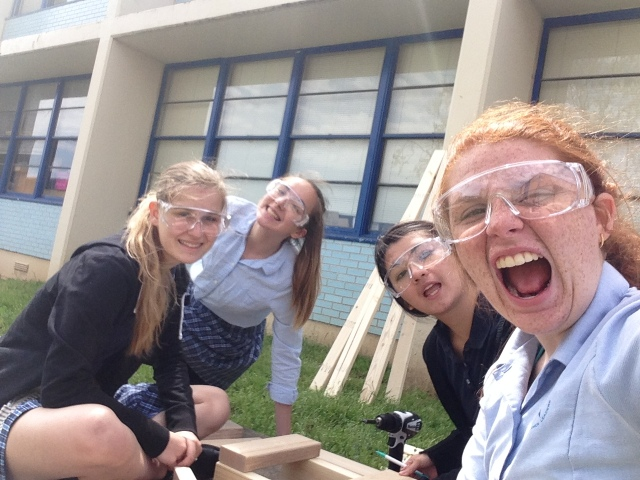 Building furniture with Sierra, Ally, and Meredith. (Photo creds to Emma!)