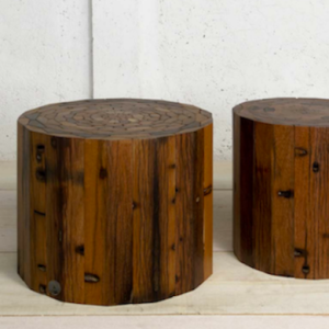 Wood scraps from an Indonesian fishing boat made into pretty stools (source: http://www.bobvila.com/barn-wood-cabinets/13311-11-ways-to-use-salvaged-wood-in-your-home/slideshows/?bv=ub#!8)