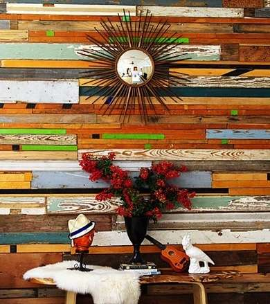 A whole wall made of salvaged wood!