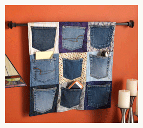 This is an example of up cycling, they made jean pockets into pocket holders