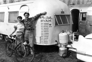 Wally and his wife next to an airstream