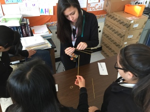 Ann Richards students hard at work on their marshmallow challenge structure.