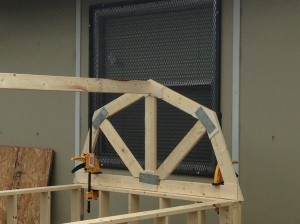 The roof frame where we used the awesome miter saw features!