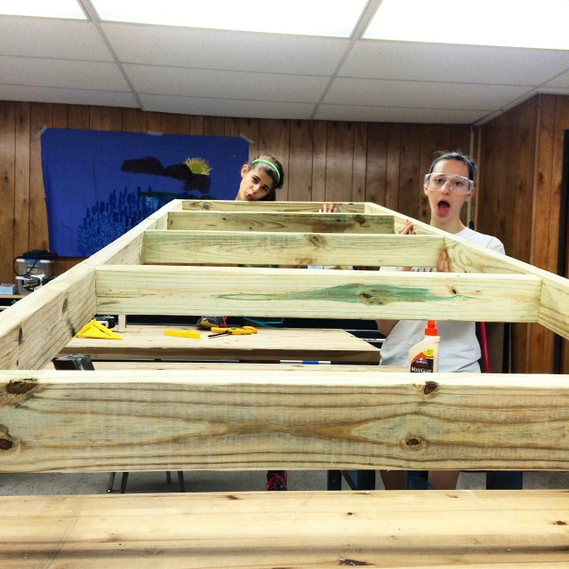 Shahar and I complete the first frame for the back wall.