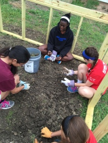 There was so many weeds to be pulled out that we had little groups that worked at different corners trying to get all the weeds out. In this picture is, from left to right, Shilah, Britton, Chandler, and in the tiny corner, Lucia.